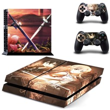 Anime Sword Art Online SAO PS4 Skin Sticker Decal Vinyl for Playstation 4 Console and 2 Controllers PS4 Sticker