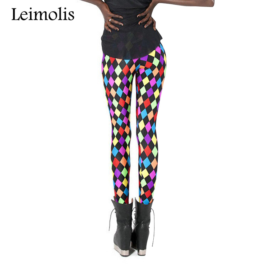 Leimolis 3D printed fitness push up workout   leggings   women colorful diamond plus size High Waist punk rock pants