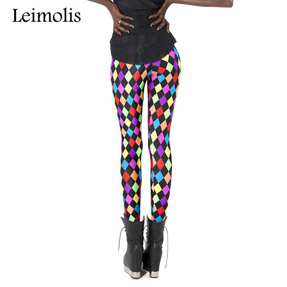 1d72e4a48e3d6 Leimolis 3D printed fitness push up workout leggings women colorful diamond  plus size High Waist punk
