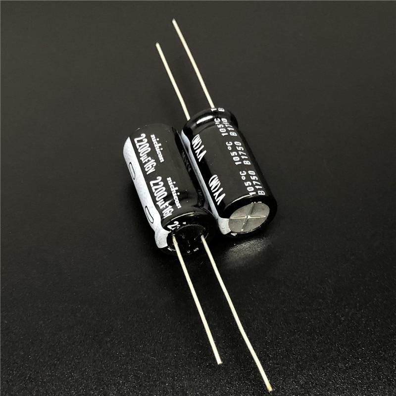 5pcs/50pcs 2200uF 16V NICHICON VY Series 10x20mm Wide Temperature Range 16V2200uF Aluminum Electrolytic Capacitor