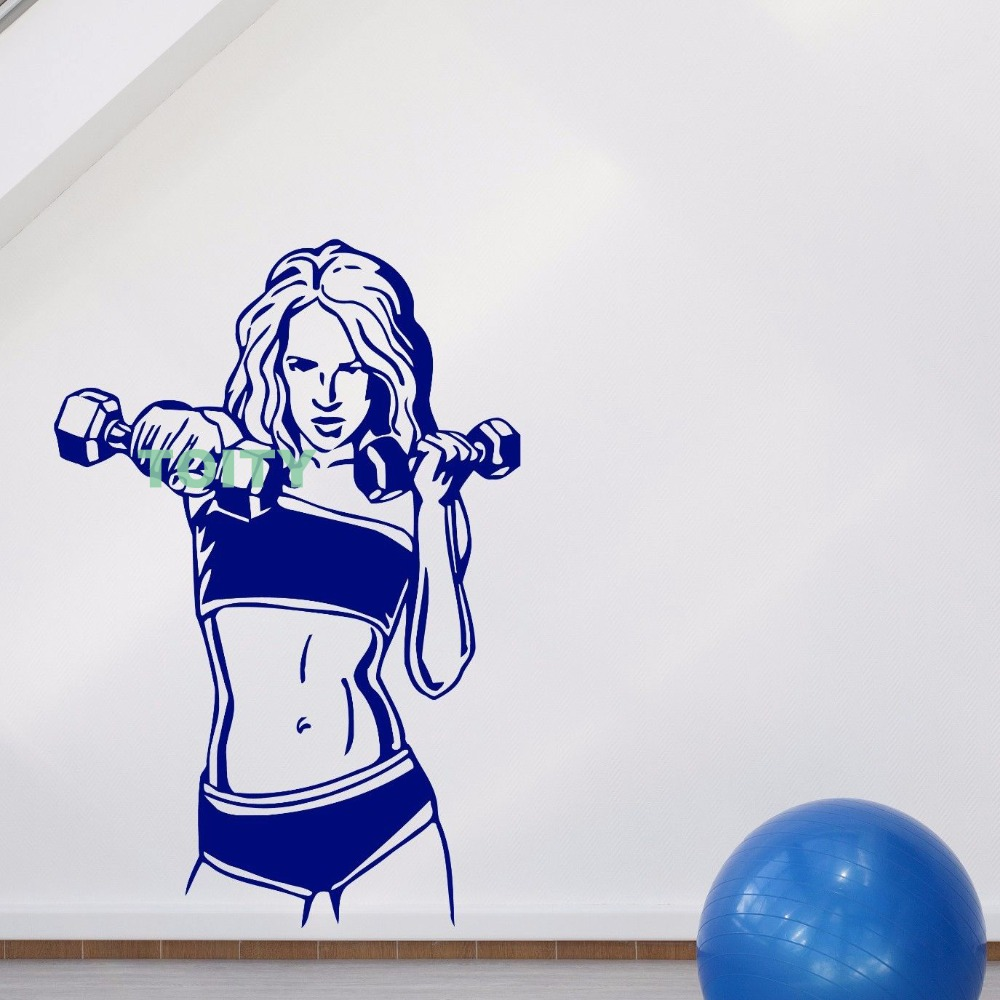 Woman GYM Wall Sticker Vinyl Decal sports club fitness exercise muscular body font b Home b
