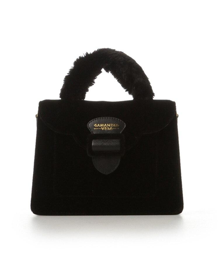 17 Christmas limited velvet suede handbag Samantha Vega plush handle organ shoulder bag Retro small flap square Messenger bag 12