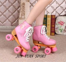 Hot Sale Quad Roller Skates Double Line 4 Wheels 6 colors Skating Shoes for Women Men Cow Leather Skates Boots