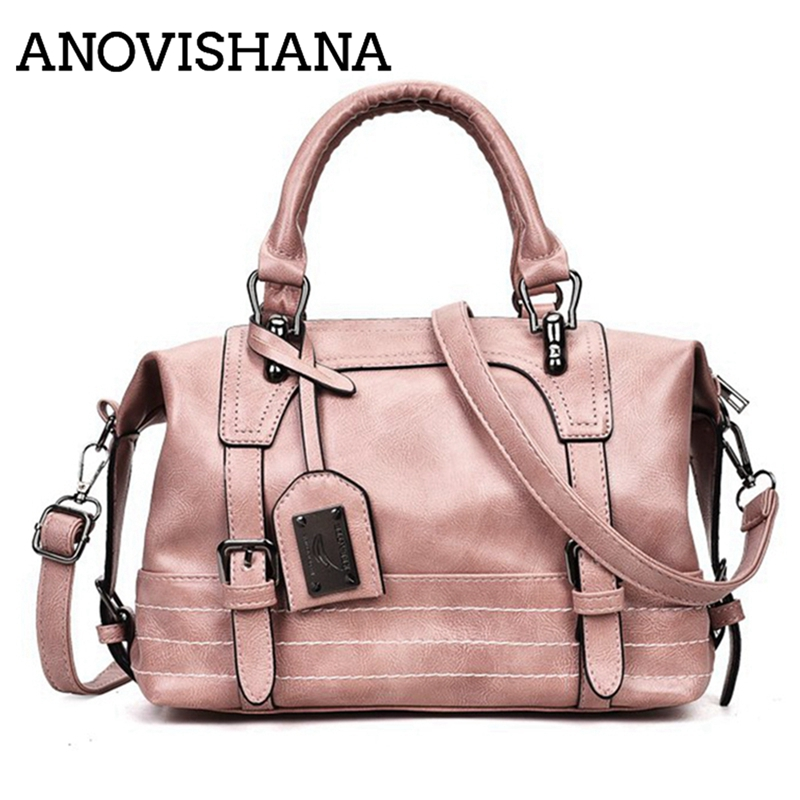 ANOVISHANA haute qualité dames Locomotive sac sac à main ville Mature tempérament femme sac à main Noble Boston Crossbady sac K052