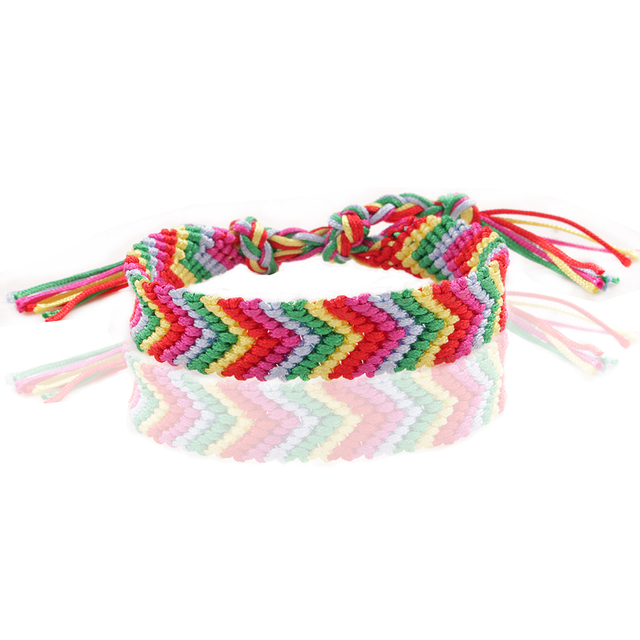 Bohemian Colorful Arrow Chevron V Shape Woven Friendship Bracelet Wayuu Braided Waterproof Surf Misangas Man