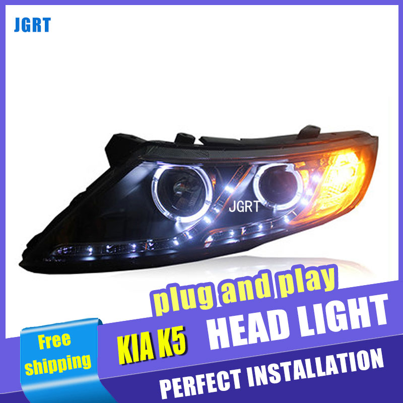 Стайлинга автомобилей для сборки Киа К5 Оптима фара 2011-2013 LED объектив фар DRL двойным Луч H7 с HID комплект 2 шт.