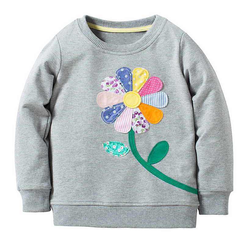 Baby Girls Sweatshirt Kids Long Sleeve Tops 100% Cotton 2017 Brand Winter Clothes Girls T shirts Hoodies Children Clothing 2-7T