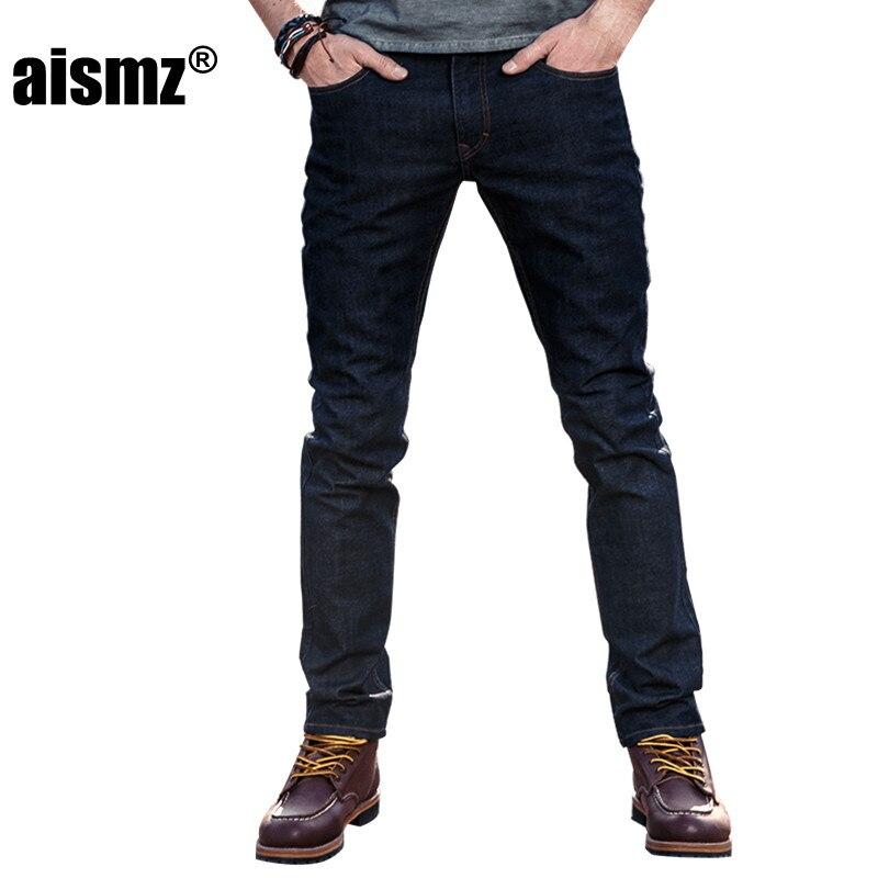 Aismz Brand Mens Jeans Denim Men Slim Fit Jeans Trousers Trendy Stretch Black Pants Size 27-36 Jean 60028