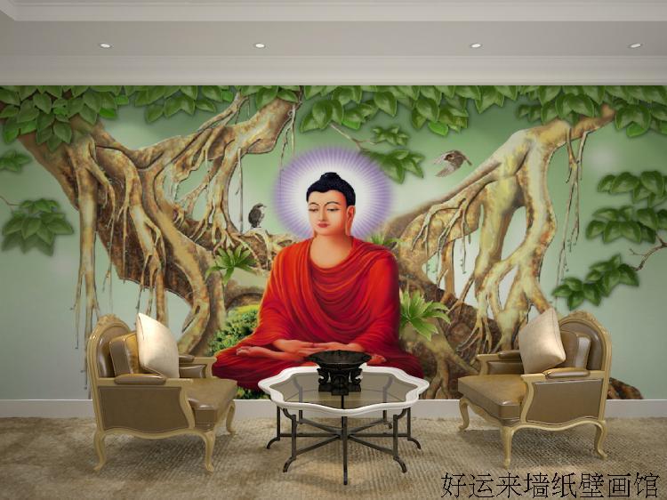 Free Shipping Seamless large mural buddhist buddha Bodhi Temple restaurant hotel living room sofa background wallpaper wallpaper Обои