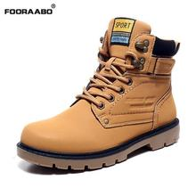 2016 New Men Boots Leather Men Martin Boots Autumn And Winter Warm Snow Boots Outdoor Casual Work Shoes Black High Top Men Shoes