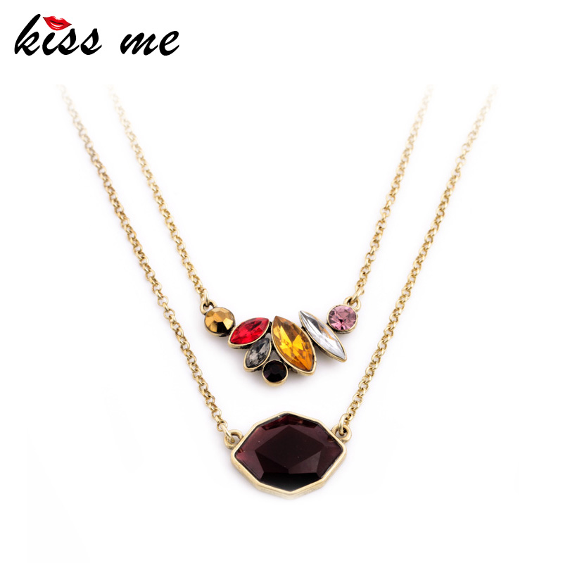 KISS ME Office Ladies Favorite Elegant Clavicle Necklace KISS ME Latest Colorful Rhinestone Choker Dress Accessories