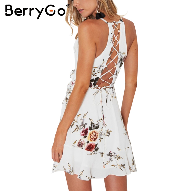 BerryGo lace up flower print summer dress women V neck ruffles bandage sexy dress Sleeveless party short dresses