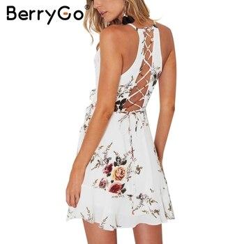 BerryGo lace up flower print summer dress women V neck ruffles bandage sexy dress Sleeveless party short dresses