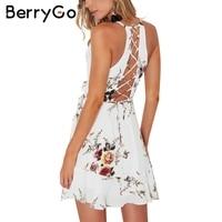 BerryGo Lace Up Flower Print Summer Dress Women V Neck Ruffles Bandage Sexy Dress Sleeveless Party