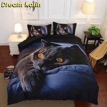 Juego de fundas de edredón con estampado 3D de 3/4 Uds., ropa de cama con diseño de gato Lobo, ropa de cama con funda de almohada individual de tamaño King Size, ropa de cama, funda de edredón