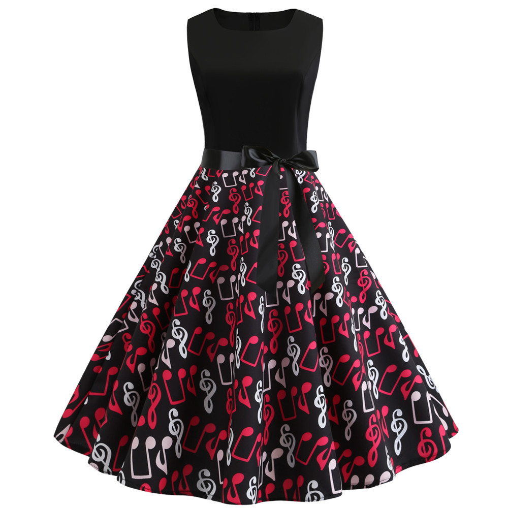 2019 nova nota de música impressão feminina vestido do vintage verão sem mangas o pescoço casual swing retro festa midi vestidos robe femme