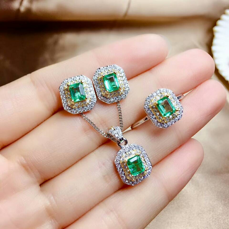 MeiBaPJ Luxurious Natural Columbia Emerald Gemstone Jewelry Set 925 Sterling Silver 3 Siut Green Stone Fine Jewelry For Women