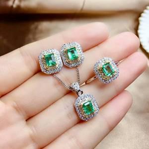 Image 1 - MeiBaPJ Sang Trọng Tự Nhiên Columbia Emerald Đá Quý Đồ Trang Sức Thiết Lập 925 Sterling Bạc 3 Siut Màu Xanh Lá Cây Đá Đồ Trang Sức Mỹ cho Phụ Nữ