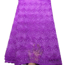 2019 Purple African Laces Fabrics Embroidered High Quality French Lace Fabric Cheap Nigerian Net tulle Lace Fabric 218