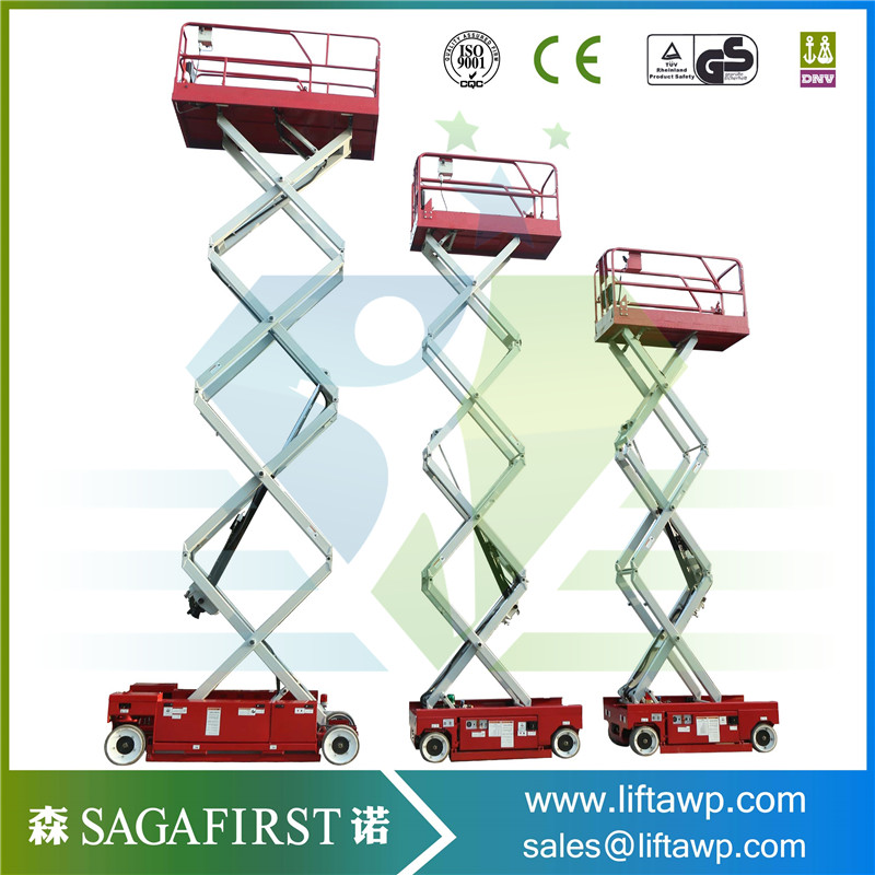 Factory Made DC Power Electric Aerial Lift Scissor Structure Maximum Working Height 16m