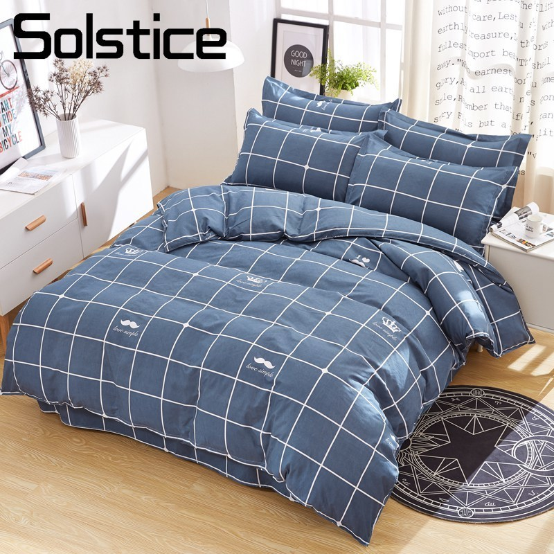 Solstice Home Textile King Full 3/4Pcs Bedding Set Boy Teen Adult Girl Linens Lattice Deep Blue Duvet Cover Pillowcase Bed Sheet