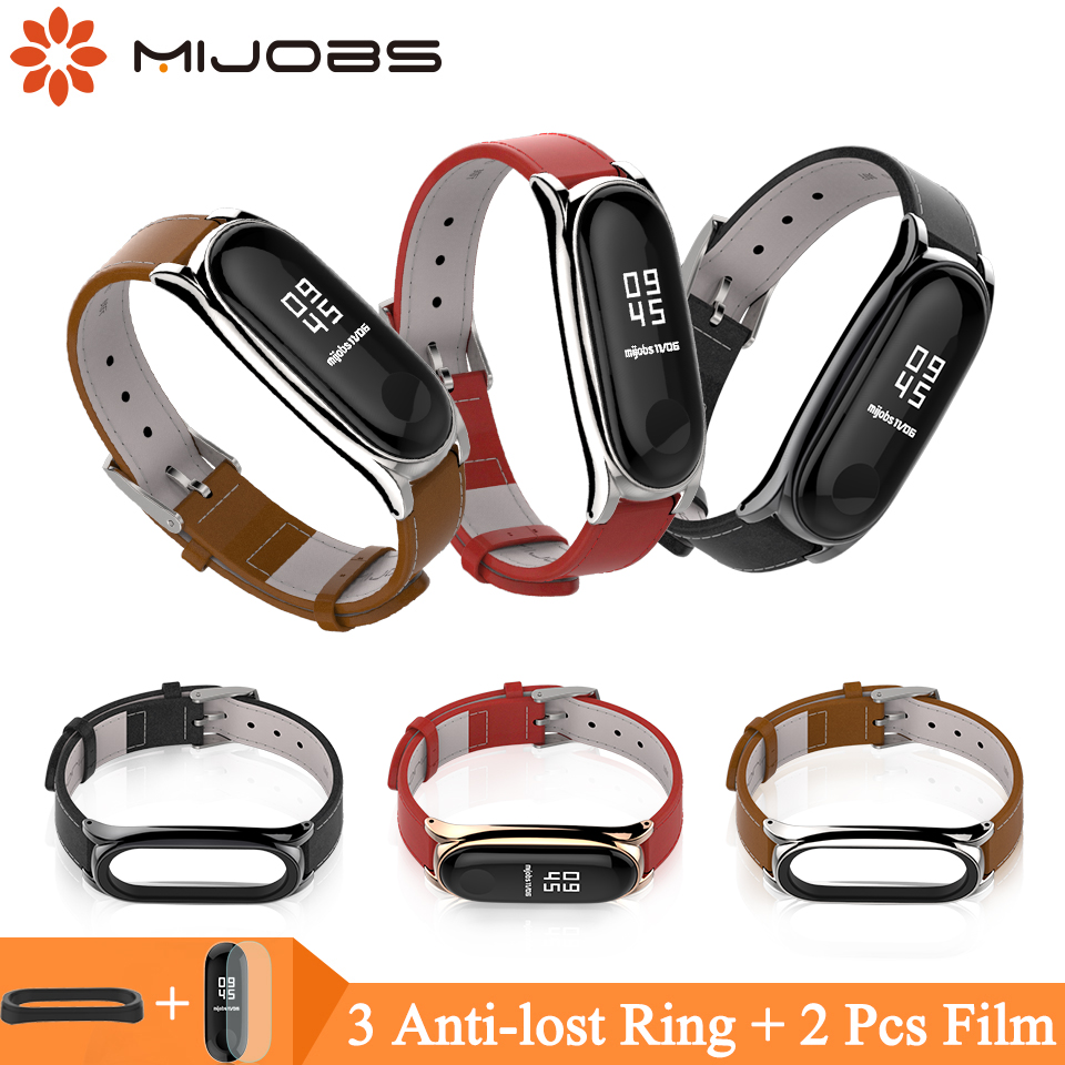 Mijobs Mi Band 4 Genuine Leather Bracelet Wrist Strap For Xiaomi Mi Band 4 3 Screwless Smart Watch Accessories Bracelet Miband 3