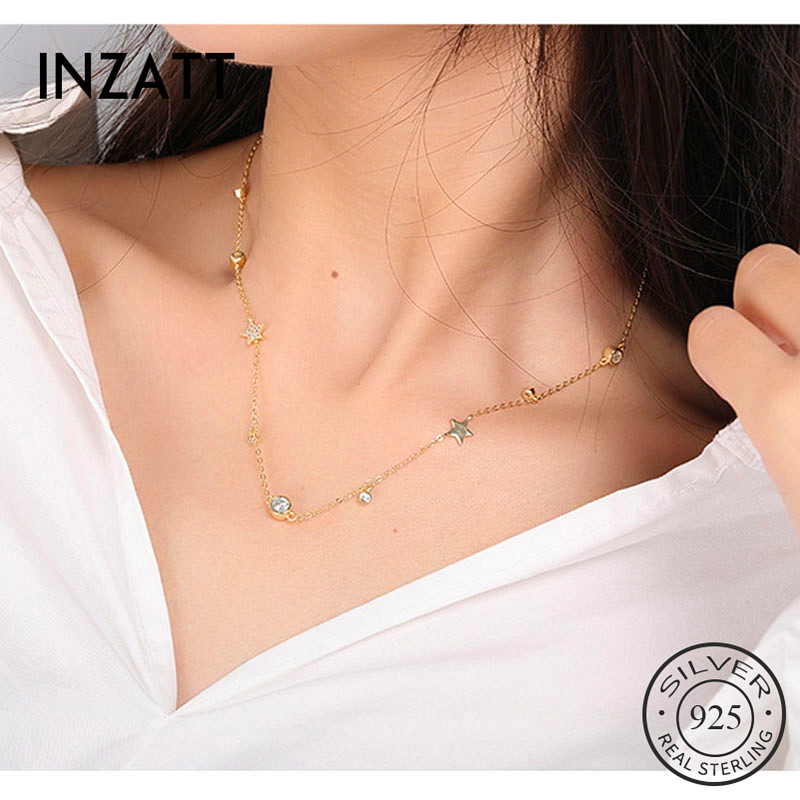 INZATT Real 925 Sterling Silver Choker Zircon Star Pendent Necklace For charming Women Anniversary Fine Jewelry Cute Accessories