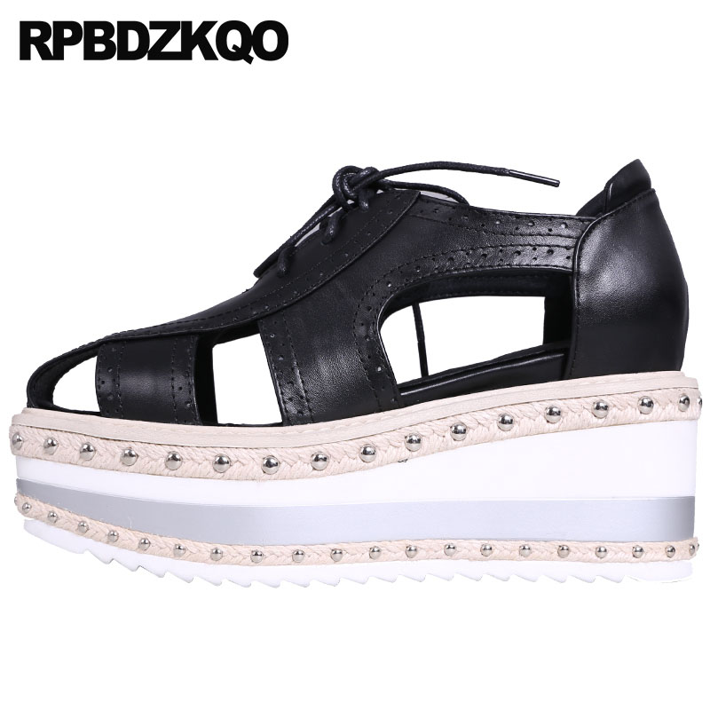 Pumps Oxford Harajuku Brogue High Heels Rivet 8cm Creepers Lace Up Wedge Genuine Leather Shoes Women Platform Casual Gladiator