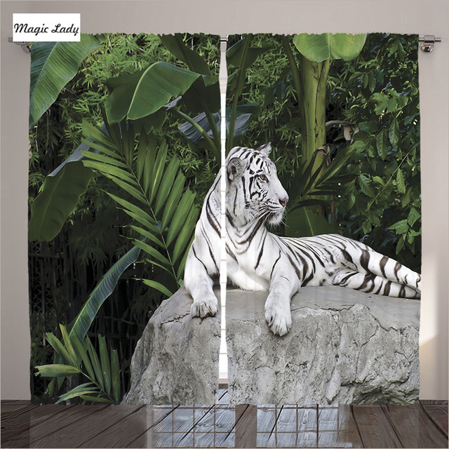 Black And White Tiger Luxury Blackout 3d Window Curtains For Living