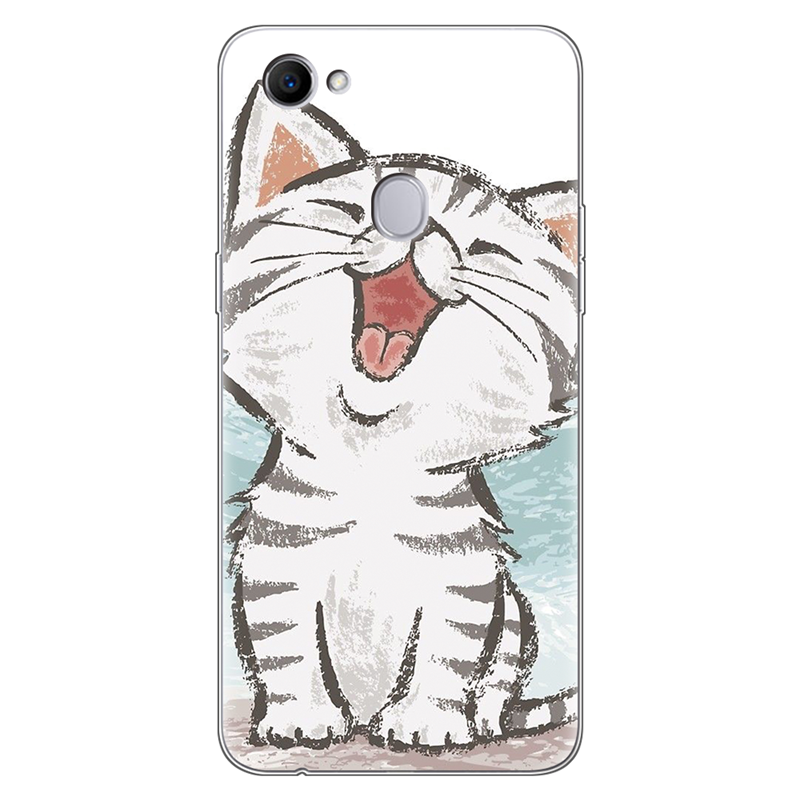 Cartoon Cat Cute Clear Animal Phone Case For OPPO F7 Case Silicone 6.23