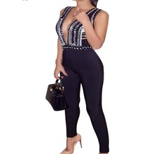 2016 Summer New Black V Neck Sleeveless Studded Modern Luxury Stretch Sexy Rompers Womens Jumpsuit Hot Sale Best Quality AA-769