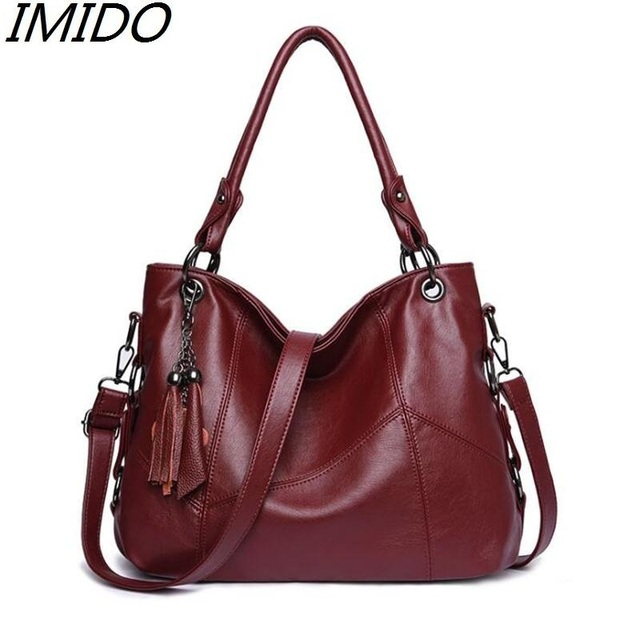 High Grade Ms Leather Fashions Mommy Sheepskin Large Capacity Tassel Handbag Bag Fallow Womens Genuine