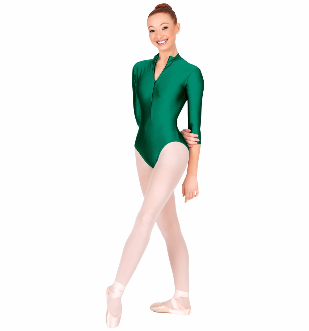 Basic 3/4 Sleeve Women Mock Neck Ballet Dance Leotards with Zip Front Lycra Spandex Gymnastics Leotards Girls Dancewear