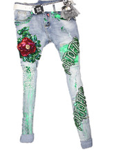France American  2016 elastic jeans pants Personality hole English letter bead pearl gilding  rosessequins female youth trousers