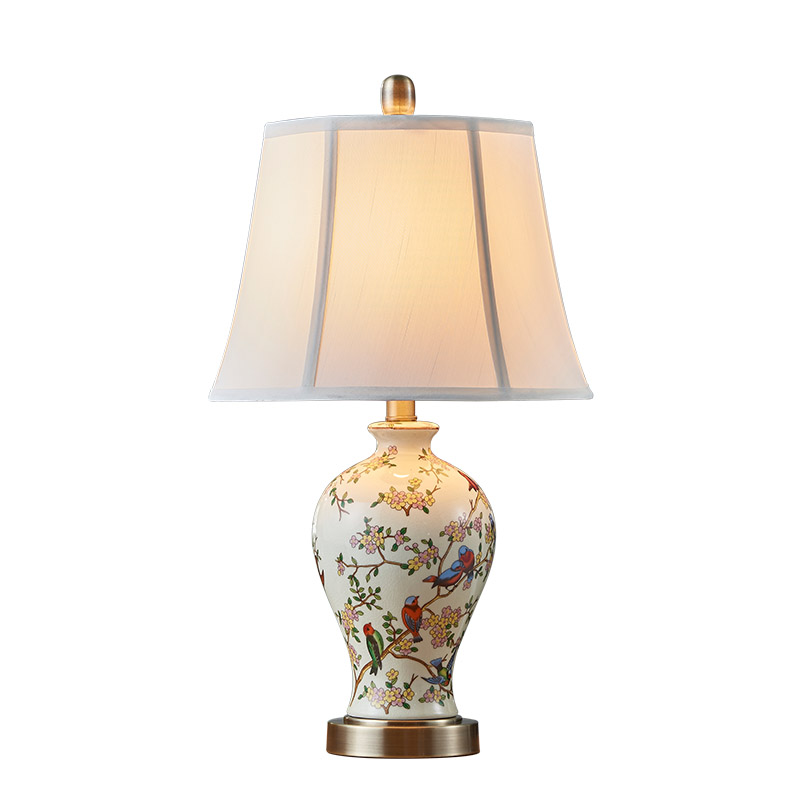 US $72.09 |Hand painted art ceramic table lamp bedroom bedside lamp new  Chinese pastoral creative warm living room LED lights-in LED Table Lamps  from ...