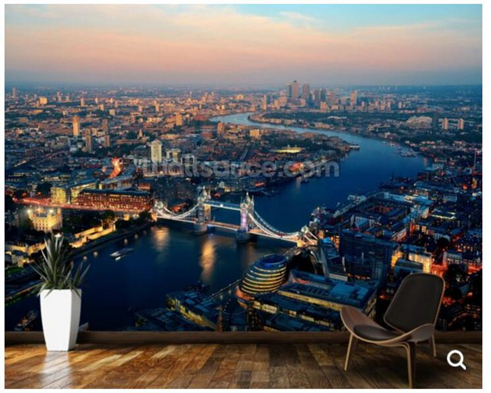 Custom London wallpape,Ariel of Lond.photo fresco for living room restaurant cafe hotel KTV background wallpaper Ariel of London wireless restaurant calling system 5pcs of waiter wrist watch pager w 20pcs of table buzzer for service