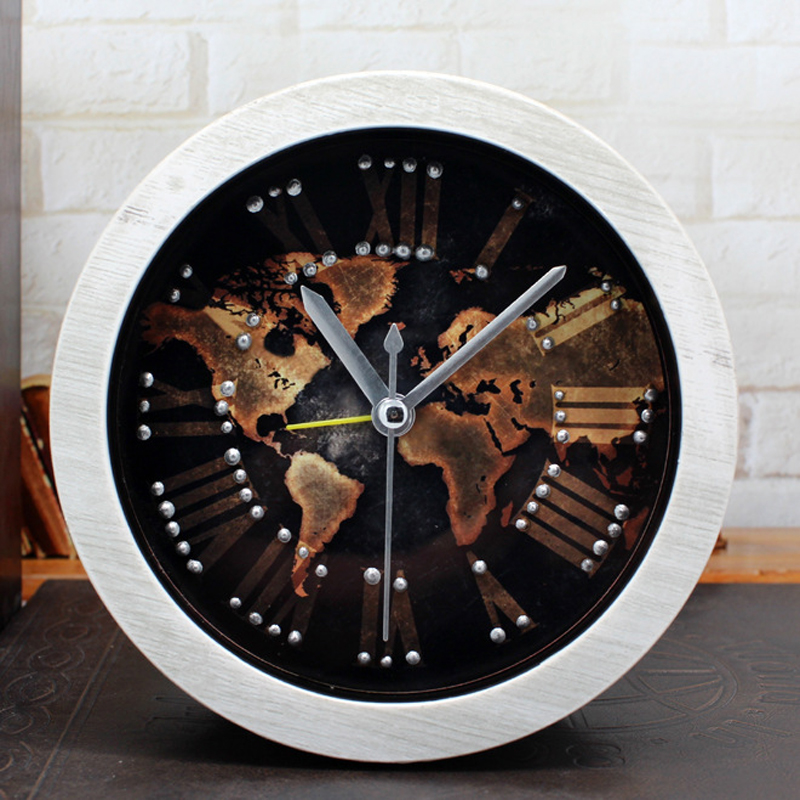 Ouyun new european world map desktop clock retro small wooden alarm ouyun new european world map desktop clock retro small wooden alarm clock living room bedroom mute office clock home decor in alarm clocks from home gumiabroncs Images