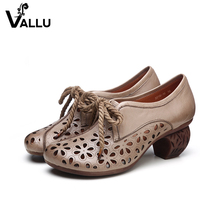 2017 Genuine Leather Women Pumps Cut Out Lace Up Chunky Heels Handmade Vintage Women Shoes