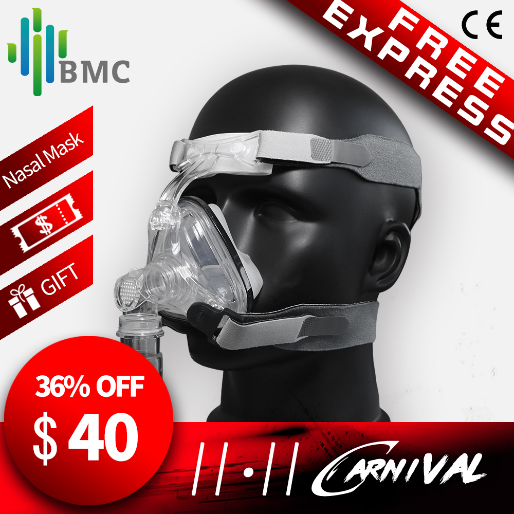 BMC NM1/NM2 Nasal Mask CPAP Mask Sleep Mask with Headgear S/M/L Different Size Suitable For CPAP Machine Connect Hose and Nose