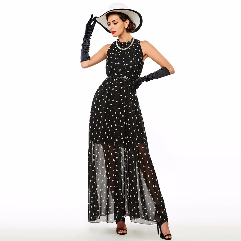 Sisjuly women maxi fashion polka dots maxi dress long casual summer beach chiffon party black dresses style elegant maxi dress 15