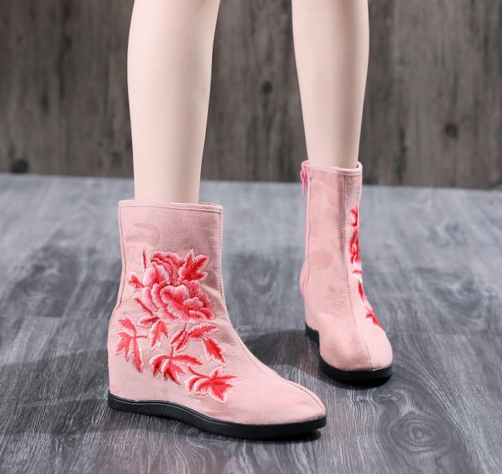 HUANQIU 2018 sonbahar/kış ulusal işlemeli botlar kadın Çin giyim çizmeler çizmeler yüksek topuklu dans ayakkabıları kadın ZLL614