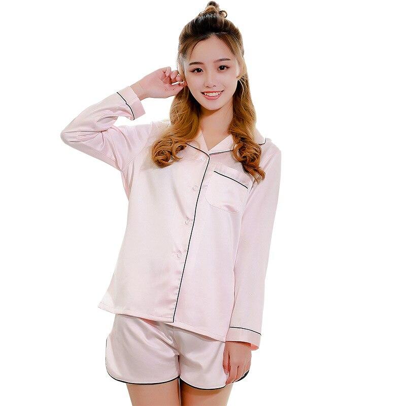 Summer Silk Pajamas for Women Sexy Pajama Sets Autumn Long Sleeve Night  Suit Women Sleepwear Pajama Shorts Pyjamas Women-in Pajama Sets from  Underwear ... 036c13e75