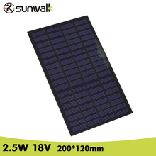 SUNWALK 2.5W 18V PET Encapsulate Solar Cell Panel 138mA Max Output Monocrystalline Solar Cell for DIY Solar System and Test все цены