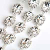 Fashion Silver Stone Chain Applique Thermal Adhesive Strasses Rhinestone Sewing Trim Flat Back For Clothes Hot