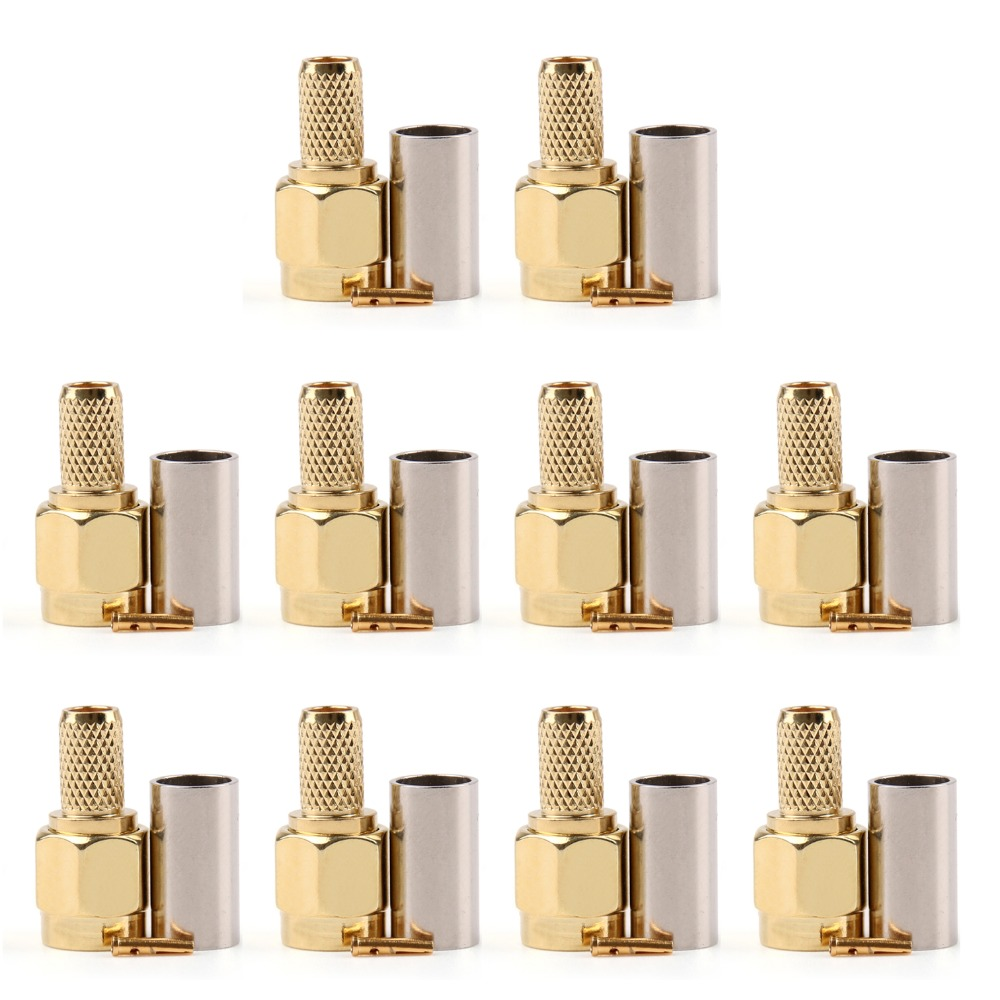 Areyourshop Hot Sale 10 PCS Connector RP SMA Male Jack Crimp RG58 RG142 LMR195 RG400 Cable Straight High Quality Wire Connector цена и фото