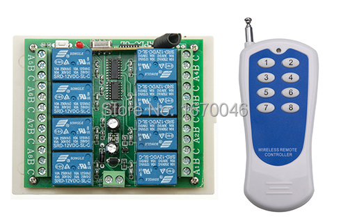 8CH DC 12V rf home automation remote control switch 433MHZ transmitter and recevier wireless switch Radio smart home control
