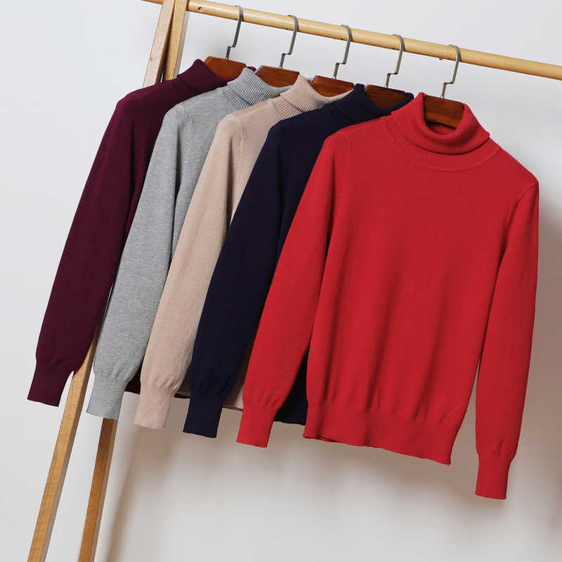 Women Sweater Turtleneck Slim Warm Thick Plain Pullover Basic Korean Officewear Fashion Autumn Winter Knitted Top Sweater Jumper