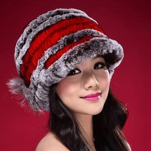 Image 5 - Factory Direct Hot Sale Caps For Women Real Rex Rabbit Fur Hats Genuine Knitted Rex Rabbit Fur Beanies Skullies DL6249