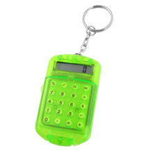 Clear Green Plastic 8 Digits LCD Display Mini Calculator w Keyring-CAA