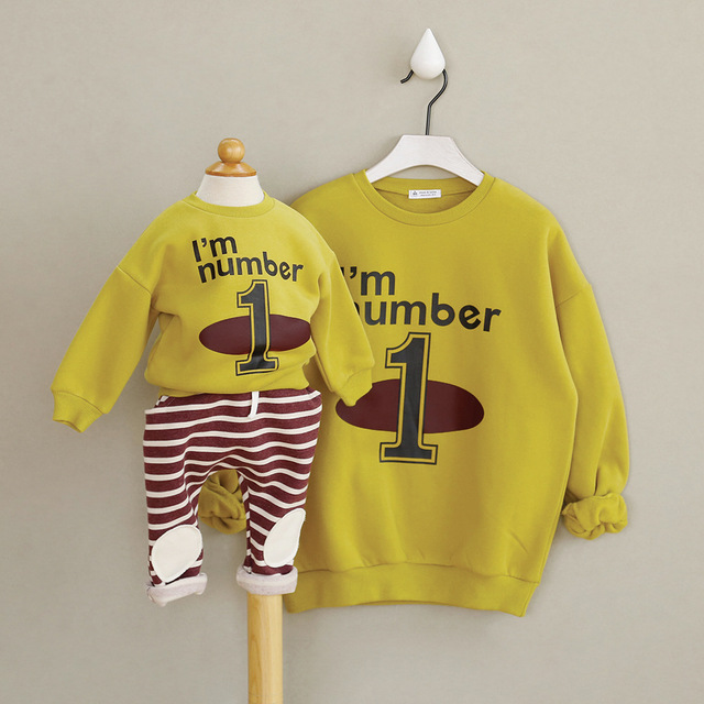 Mother and Baby Family Matching Casual Letters T-shirt warm velvet Clothes Cotton matching set outfits for autumn and winter